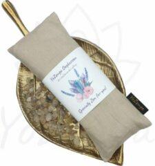 Beige YoZenga oogkussen Gold Rutiel & biologische lavendel   kristallen/edelstenen   Kleur: Aurelagold   Yoga   Meditatie   Ontspanning   Ideaal bij hoofdpijn & stress klachten   Moederdag cadeau