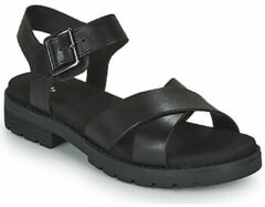 Zwarte Clarks - Damesschoenen - Orinoco Strap - D - black leather - maat 6