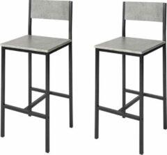 Zwarte Simpletrade Barkruk - Barkrukken set van 2 - Voetensteun - Hout - Grijs - 39x95x41 cm