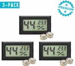 Zwarte Qitch & Quisine Hygrometer Met Batterijen - Zwat - Inclusief Thermometer - Digitale Luchtvochtigheidsmeter - Voor Binnen & Buiten - 2 in 1 - Set van 3