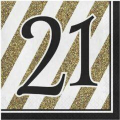 Witbaard Servetten Met Cijfer 21 33 Cm Papier Zwart/goud 16 S