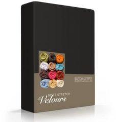 Zwarte Romanette Velours hoeslaken - Zwart - 2-persoons (140/150x200/220 cm)