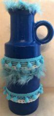 Decoratieve Ibiza/Boho vaas - blauw - 29 cm - Cosii