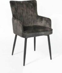 Antraciet-grijze Duverger® Stripes Velvet - Eetkamerstoelen - set van 2 - armleuningen - fluweel - antraciet - gestreept rugstiksel - handvat