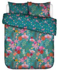 Blauwe Covers En Co Covers & Co Flower Power Dekbedovertrek - Lits-jumeaux (240x200/220 Cm + 2 Slopen) - Percal Katoen - Petrol