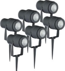 Antraciet-grijze INTOLED Set van 6 LED aluminium prikspots 12 Watt 3000K IP65 antraciet
