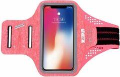 Roze Premium Sportarmband - Universele Hardloop Armband - iPhone, Samsung & Huawei - Smartphonehouder - Reflecterend, Spatwaterdicht, Sleutelhouder, Verstelbaar - Lycra - Luxe Sportarmband - ATHLETIX