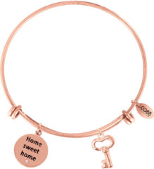 CO88 Collection Inspirational 8CB 11021 Stalen Armband met Hangers - Home Sweet Home en Sleutel - One-size - Rosékleurig