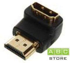 Zwarte ABC-Led HDMI A-A VERLOOPSTEKKER 90° NAAR BENEDEN MALE FEMALE