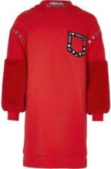 River Island Rotes Hoodie-Kleid aus Kunstfell