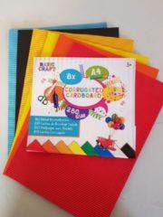 Basic Craft Ribbel knutselkarton | Formaat A4 | 8 stuks | 8 verschillende kleuren | hobbypapier voor kinderen
