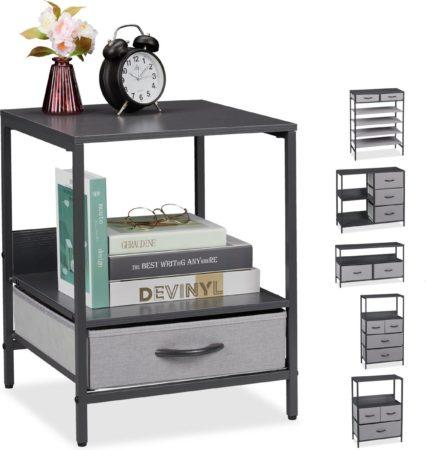 Afbeelding van Relaxdays ladekast grijs - tv-meubel - schoenenrek - bijzettafel - nachtkastje - dressoir F