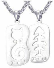 Zilveren Geshe-Koppel ketting love kat en visgraat-i love you-RVS ketting-Liefdes Cadeau|Romantisch Cadeau|Koppel Cadeau|Relatie Cadeau-ketting voor twee 50cm+5cm