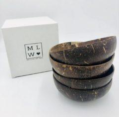 Bruine My Life, My Way MLMW - Kokosnoot Kom Origineel MEDIUM - Coconut Bowl Original MEDIUM - 450 ML - Handgemaakt - Uniek - Duurzaam - 100% Natuurlijk - Set van 4 - geschikt voor smoothie bowls, yoghurt, fruit en salades.