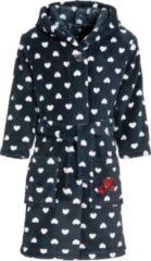 Donkerblauwe Playshoes - Fleece badjas met capuchon voor meisjes - blauw & hartjes