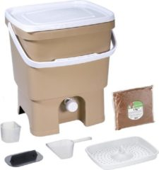 Beige Skaza Exceeding Expectations Skaza Bokashi Organko keukencompostbak van gerecycleerd plastic |16 L| Starter Setbvoor keukenafval en compostering | met EM zemelen 1 kg |