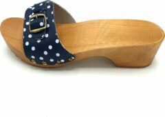 DINA muiltjes blauw met witte stip leren sandalen voor dames