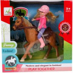 Toys Amsterdam speelset paard meisjes 21 cm roze/bruin 4-delig