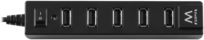 Ewent 7 Poorts USB Hub met Aan/Uit Knop USB 2.0, Zwart usb hub