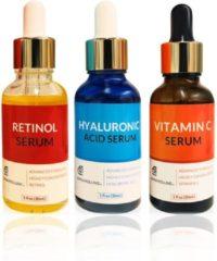 Dermarolling Serum Kit Compleet -Vitamine C, Retinol & Hyaluronzuur Serum