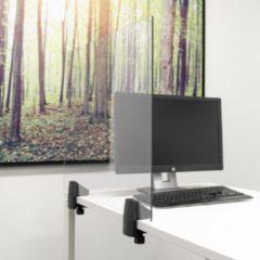 Transparante SMIT VISUAL Scheidingsscherm plexiglas 58x75 cm voor bureau/tafel, inclusief bureauklemmen enkel bureau