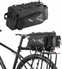 Zwarte Fiets Bagagedragertas met Regenhoes - 13L Bagage drager fietstas - Trunkbag Fietstas - Dubbele Fietstassen voor op bagagedrager - Trunk Bag voor Elektrische Fietsen & Stadsfietsen - Bagagedrager tas met Fleshouder veel opbergruimte - Decopatent®