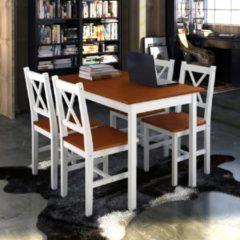 Bruine VidaXL Houten eettafel met 4 stoelen (bruin)