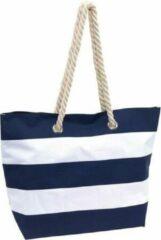 Merkloos / Sans marque Strandtas gestreept blauw/wit 47 cm - Strandartikelen beach bags/shoppers met klittenbandsluiting