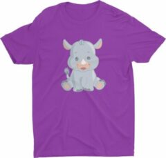 Paarse Pixeline Rhino #Purple 130-140 t/m 10 jaar - Kinderen - Baby - Kids - Peuter - Babykleding - Kinderkleding - Rhino - T shirt kids - Kindershirts - Pixeline - Peuterkleding