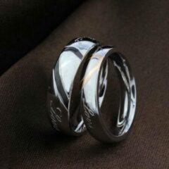 Zilveren Leukste Koop Ring met hart man 21.5mm zwart (Maat 12)