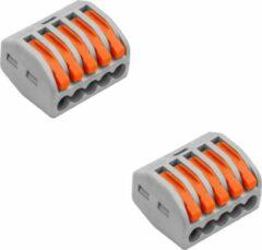 Quana Lasklem Set 2 Stuks - 5 Polig met Klemmetjes - Grijs/Oranje