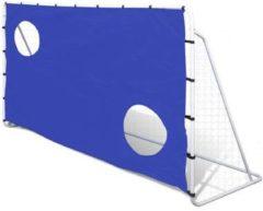Blauwe VidaXL Voetbaldoel met richtmuur 240 x 92 x 150 cm