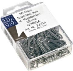 Paperclips Norica 32mm verzinkt met kogeleind doos a 50 stuks