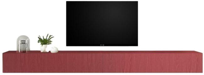 Afbeelding van Pesaro Mobilia Zwevend Tv-meubel Tesla 276 cm breed in rood