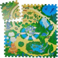 Relaxdays speelmat dinosaurus - baby puzzelmat - vloerpuzzel - kruipmat - speelkleed - EVA
