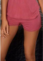 Roze LASCANA Korte pyjamabroek, met fijne kanten rand