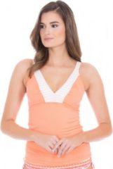 Cabana Life UV beschermende Tankini top Dames - Oranje/Wit - Maat 40 (M)