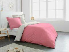 Roze HomeLine 100% katoen tweekleurig dekbedovertrekset 260x240 cm + 2 slopen 65x65 cm Roos / Creem (met flessenhals instopstrook)