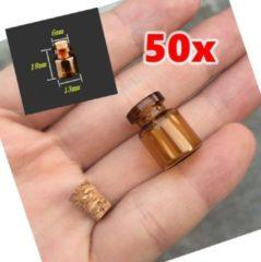 Wood, Tools & Deco Set mini glazen flesjes, 50 stuks, 13x18x6 mm