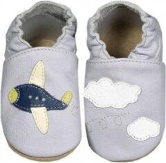 Hobea Babyslofjes grijs met vliegtuig (Kruip)
