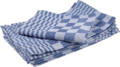 Blauwe Handdoek formaat 70 x 70 cm blauw/wit pak van 6 stuks