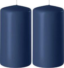 Enlightening Candles 2x Donkerblauwe cilinderkaarsen/stompkaarsen 6 x 10 cm 36 branduren - Geurloze kaarsen donkerblauw - Woondecoraties