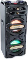Zwarte Party speaker - Fenton LIVE2101 actieve speaker 800W met o.a. Bluetooth, mp3 speler, disco LED's en twee microfooningangen dus ook geschikt voor karaoke!