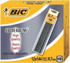 Grijze BIC Conté criterium Gilbert mines etui van 12 potloodstiften van 0,7 mm