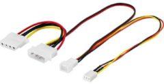 Deltaco B.V DELTACO SSI-34A, 2x 3-pin 2x 4-pin Zwart, Rood, Geel kabeladapter/verloopstukje