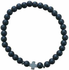 Zilveren Armband- kruis- zwart- kralen- stretch-Charme Bijoux