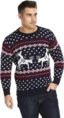 """Blauwe UglyXmas Foute Kersttrui """"Rendieren doen een Spelletje"""" - Grappige Kersttrui - Vunzige Kersttrui - Christmas Sweater Maat XXXL"""