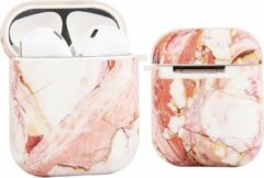 YPCd® Apple AirPods Hoesje - Roze - Marmer Hard Case