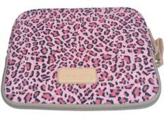 Lisen – Laptop/Tablet Sleeve met Panterprint tot 10 inch – 27 x 21 x 1,5 cm - Roze