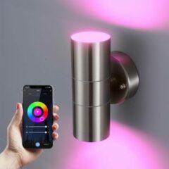 Roestvrijstalen HOFTRONIC Smart WiFi LED Wandlamp Jasmin RGBWW GU10 rond tweezijdig oplichtend RVS IP44